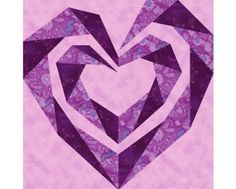 Twisting Spiral Heart paper pieced quilt by PieceByNumberQuilts, $3.00