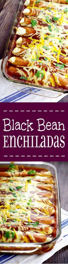 Black Bean Enchiladas. Simple and classic flavors are used for these Black Bean Enchiladas, that make a delicious, easy, and meatless family dinner.  Love the simple ingredients in this recipe!