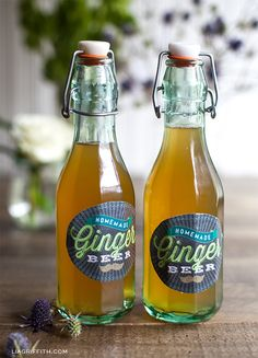 Printable Labels for Homemade Ginger Beer   Link to the Yummy Recipe!
