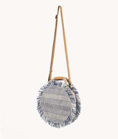 Nautical, resort round summer bag with raw edge fringe. Crossbody with rope detail handle. unique boho meets preppy design Beach Vacation Packing, Vacation Style, Vacation Destinations, Honeymoon Attire, Clutch Bag, Crossbody Bag, Unique Handbags, Round Bag, Early Fall