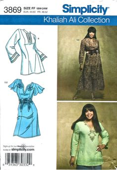 Simplicity 3869  Womens Princess Seam DRESS and TUNIC  Pattern Khaliah Ali Plus Size Sewing Pattern Size 18 20 22  24 Bust 40 - 46 UNCUT