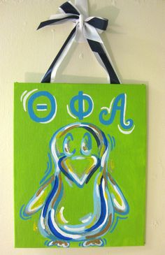 Theta Phi Alpha Penguin Painting by tealejane on Etsy, $20.00