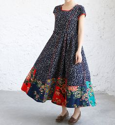 Summer loose fitting maxi dress Women Long dress in dark by MaLieb