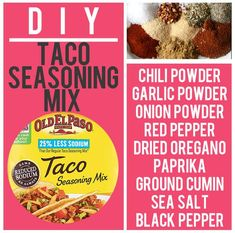 DIY home made Copycat Old El Paso Taco Seasoning Mix Take 3 minutes to mix up a batch of your very own FRESH DIY Homemade Taco Seasoning and you'll never go pack to those mystery packets! Homemade Dry Mixes, Homemade Spices, Homemade Seasonings, Homemade Tacos, Homemade Things, Make Taco Seasoning, Seasoning Mixes, Old El Paso Taco Seasoning Recipe, Taco Mix