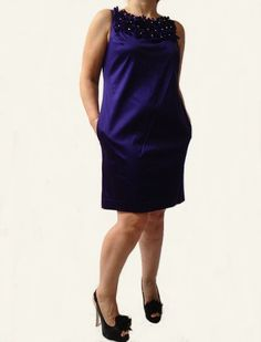 Taylor satin shift dress with rosette trim available at our online store Megavybor.com
