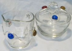 Glass Sugar and Creamer Set Wrapped with Wire and by cbtdesign, $16.00