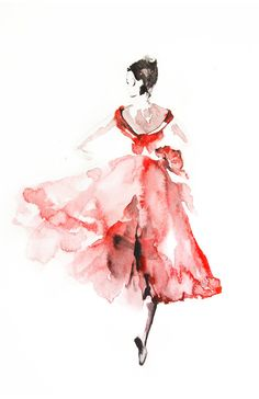 Ballerina in Pink Watercolor Painting Art Print by CanotStopPrints
