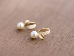 Baby Leaf and Pearl Seed Earrings by CocoroJewelry