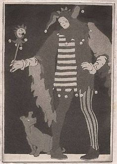 COURT-JESTER-Signed-Aquatint-Etching-FRANCES-E-PENROSE-1924