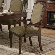Keely Traditional Dining Arm Chair Set with Carved Detail