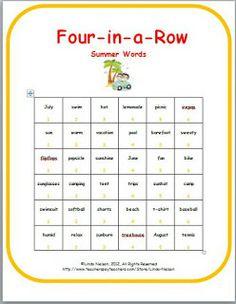 Summer Vocabulary Game