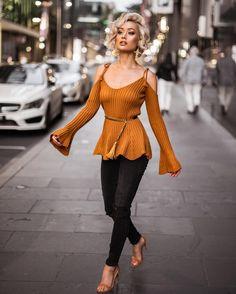 Micah Gianneli - Warm nights & city lights ✨ LPA top @loversfriendsla jeans from Revolve // Belt YSL // Heels @mode_collective //