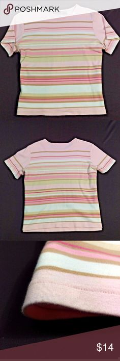 """Coral Bay T Shirt Strawberry Striped Casual Soft Coral Bay Strawberry Pink Tee   100% Cotton, very soft, almost plush feeling.  Striped, pale pink  Excellent smoke free condition.   Size XL  Chest - 23.5"""" across at underarms  Length - 23"""" from top of shoulder  Excellent condition. Barely worn. Smoke free. BT2 Coral Bay Tops"""