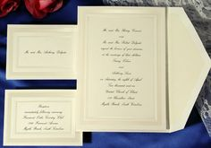 A classic ecru wedding invitation card with pearl and embossed border for a traditional Wedding Invitations by Wedding Invitations-WeddingBeDazzle