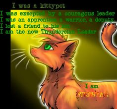 """WARRIORS by Erin Hunter  """"I was a kittypet. I was excepted by a courageous leader. I was an apprentice, a warrior, a deputy. I lost a friend to his kin. I am the new ThunderClan Leader. I am FIRESTAR."""" I <3 FIRESTAR."""