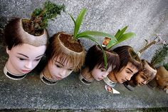 Mannequin Heads for planters. i case you dont know what to do with your mannequin head after you graduate hair school. omg this is creepy but kinda neat Head Planters, Diy Planters, Planter Ideas, Atelier Creation, Creepy Images, Graduation Hairstyles, Mannequin Heads, Creepy Dolls, Creepy Clown