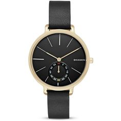 Skagen Hagen Leather Watch, 34mm (520 HRK) ❤ liked on Polyvore featuring jewelry, watches, black, skagen watches, leather jewelry, skagen wrist watch, leather watches and skagen