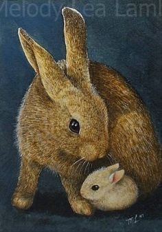 Mother Bunny Rabbit and Baby ACEO Print by Melody Lea Lamb on Etsy, $6.25