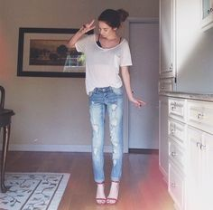 Love the bf jeans with strappy heels