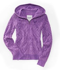 Aéropostale Floral Lace Full-Zip Hoodie