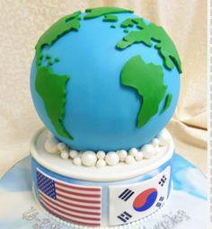 Creative Cakes, Inc. Cake Icing, Fondant Cakes, Frosting, Cupcake Cakes, Travel Cake, Travel Party, Map Cake, Globe Cake, Earth Cake