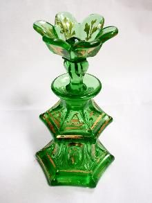 1840's Antique Boston & Sandwich Glass Perfume Bottle - Emerald Green