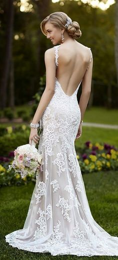naked low back white ivory veil mermaid wedding dress