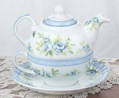 Victorian Shabby Chic Blue Flower Teapot & Cup - Tea for One Tea Pot Cup Set by Dolls Unlimited Omaha, http://www.amazon.com/dp/B006MP42FG/ref=cm_sw_r_pi_dp_3V6Wpb02CPZEX