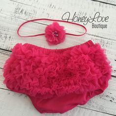 SET Watermelon Hot Pink Chiffon diaper cover ruffle butt bloomers pearl rhinestone flower headband bow, newborn infant toddler baby girl photo prop by HoneyLoveBoutique Ruffle Diaper Covers, Skinny Headbands, Baby Girl Photos, Chiffon Flowers, Coming Home Outfit, Complete Outfits, Lace Shorts, Hot Pink, Thing 1