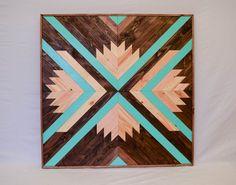 "Wood Wall Art - Wood Sculpture Installation - Modern Home Decor with Aqua Accents - 30"" x 30"" Geometric Wood Art"