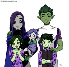 bbrae family by on DeviantArt Teen Titans Love, Original Teen Titans, Teen Titans Fanart, Cartoon Ships, Cartoon Art, Beast Boy Raven, Starfire And Raven, Superhero Family, Bbrae