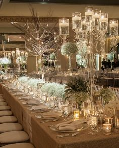 Fabulous ghost candelabras with floating candles. Simply romantic with the perfect ambiance of lighting.