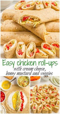 Easy chicken roll ups with cream cheese and veggies - great for a healthy lunch…