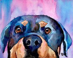 Details about Rottweiler Dog 8x10 signed art PRINT RJK painting