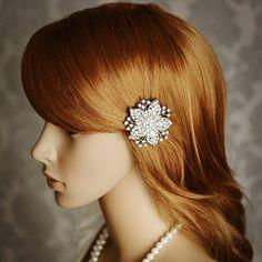 Crystal Flower Hair Clip. Simple elegance.