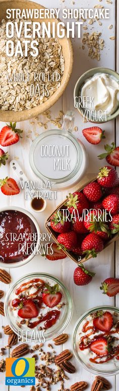 Chock full of strawberries and natural sweetness, this overnight oats recipe is perfect for busy mornings! For a different flavor, sub in cashew milk, almond milk or a different type of berry.