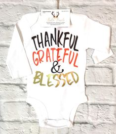 A personal favorite from my Etsy shop https://www.etsy.com/listing/569829061/baby-boy-clothes-thankful-grateful