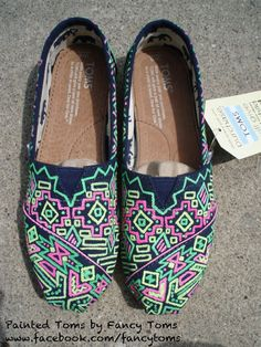 Handpainted Custom TOMS Shoes  Southwestern Design in by FancyToms, $98.00
