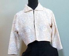 Vintage 50s 60s Beaded Cardigan Bolero Sweater Jacket