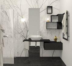 Biel i czerń nie musi być nudna - wystarczy dodać nowoczesną tapetę! Nie wierzysz? Zobacz, jak ją zaaranżować! łazienka tapeta biało czarna Projekt wnętrze Double Vanity, Bathroom, Washroom, Bathrooms, Bath, Double Sink Vanity