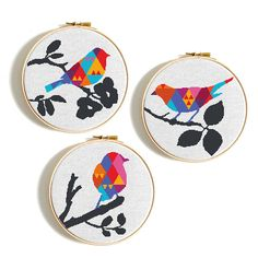 Birds modern cross stitch pattern, PDF Instant download, Easy cross stitch chart