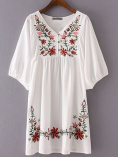 Shop Hibiscus Embroidered Loose Dress online. SheIn offers Hibiscus Embroidered Loose Dress & more to fit your fashionable needs.
