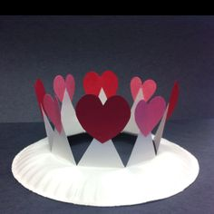 Valentine's Crowns. Looks sweet and simple! This would be great with artic words written on the hearts.