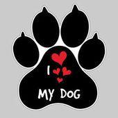 I pie de Animal de Vector de perro mi amor divisa del botón de impresión de la pata — Vector de stock