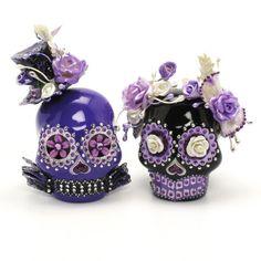 Purple Black Skull Wedding Cake Toppers Dia De Los Muertos Ceramic Sugar Skull Handmade Art and Crafts 00079  www.goodiemud.com