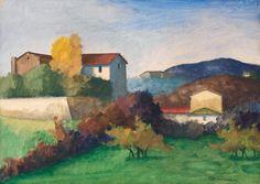 Nino Tirinnanzi (Italian, 1923-2003), Casolari. Tempera on paper, 50x70 cm