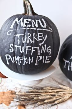 PUMPKIN PARTY MENU: Paint your pumpkin with chalkboard paint to create this fun menu. Once the party is over, erase and jazz it up with fun Halloween expressions or sassy messages. Find more pumpkin hacks and Halloween inspiration here!