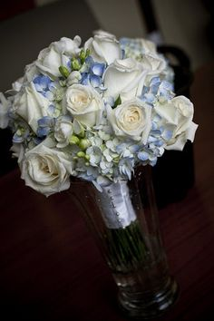 white rose, light blue hydrangea bouquet