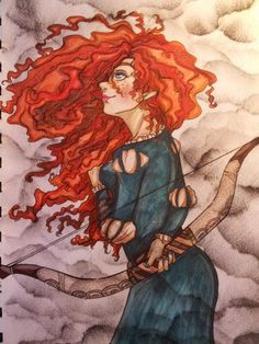 """""""If you had a chance to change your fate, would you?"""" ~ Merida Dunbroch I like Merida, especially her hair. Disney Films, Disney Art, Disney Characters, Disney Princesses, Merida Disney, Princess Merida, Modern Disney, Tinkerbell, Alice In Wonderland"""