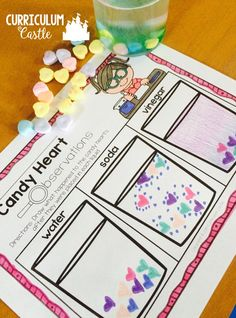 FREE candy {conversation} heart science experiment and recording sheets. Perfect Valentine's Day activity!!!
